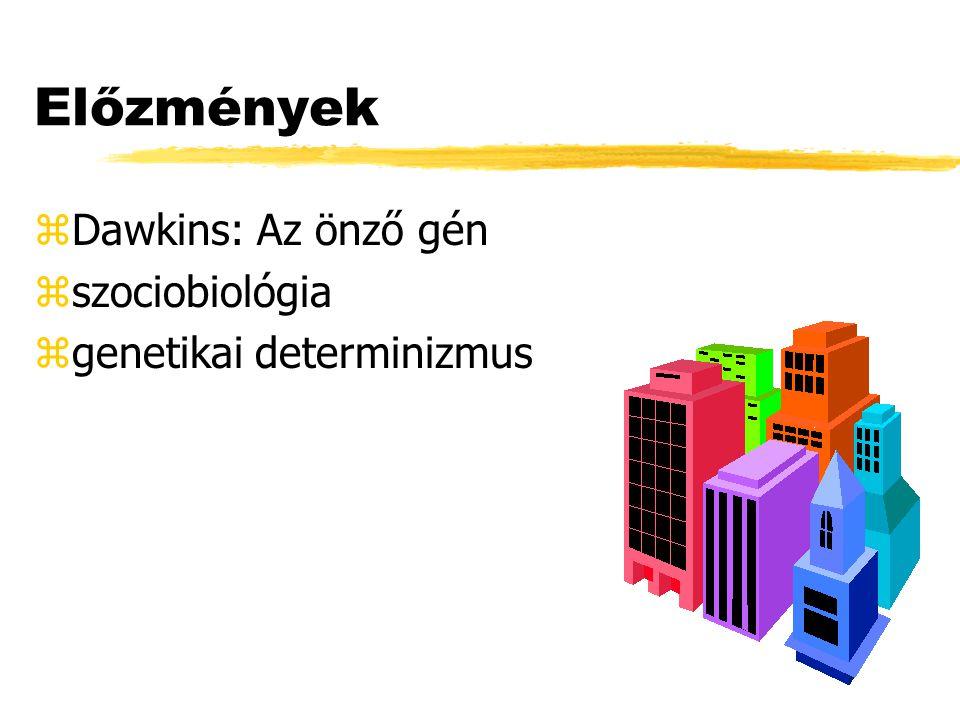 Előzmények zDawkins: Az önző gén zszociobiológia zgenetikai determinizmus