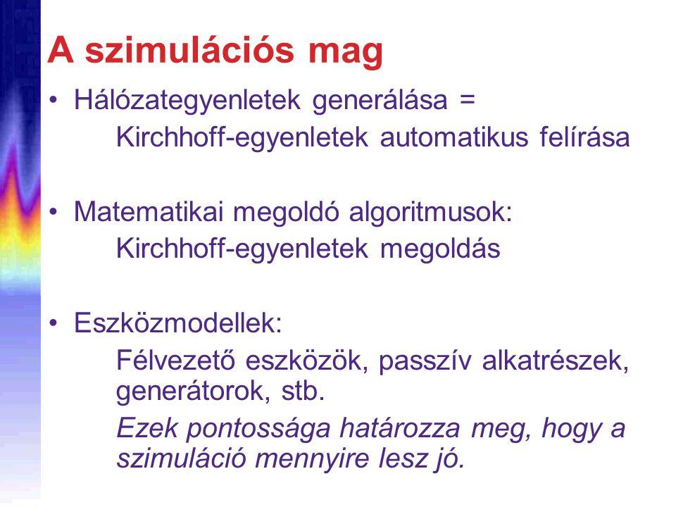 A szimulációs mag Hálózategyenletek generálása = Kirchhoff-egyenletek automatikus felírása Matematikai megoldó algoritmusok: Kirchhoff-egyenletek mego