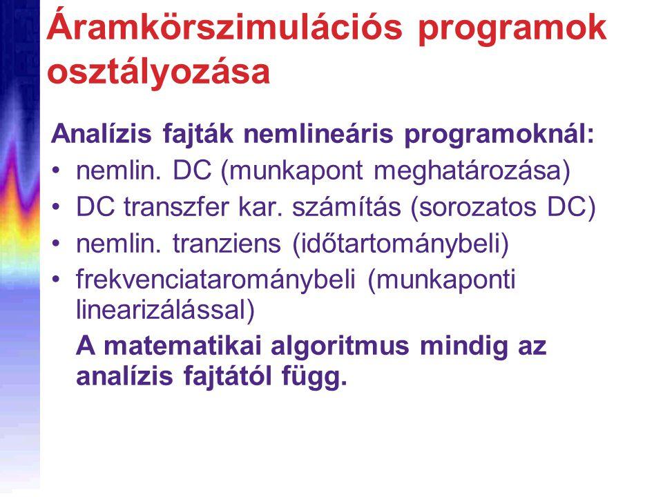 Áramkörszimulációs programok osztályozása Analízis fajták nemlineáris programoknál: nemlin. DC (munkapont meghatározása) DC transzfer kar. számítás (s