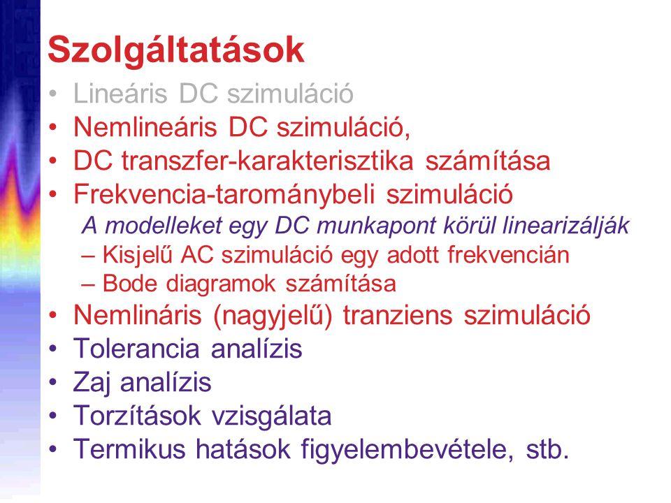 Szolgáltatások Lineáris DC szimuláció Nemlineáris DC szimuláció, DC transzfer-karakterisztika számítása Frekvencia-tarománybeli szimuláció A modelleke