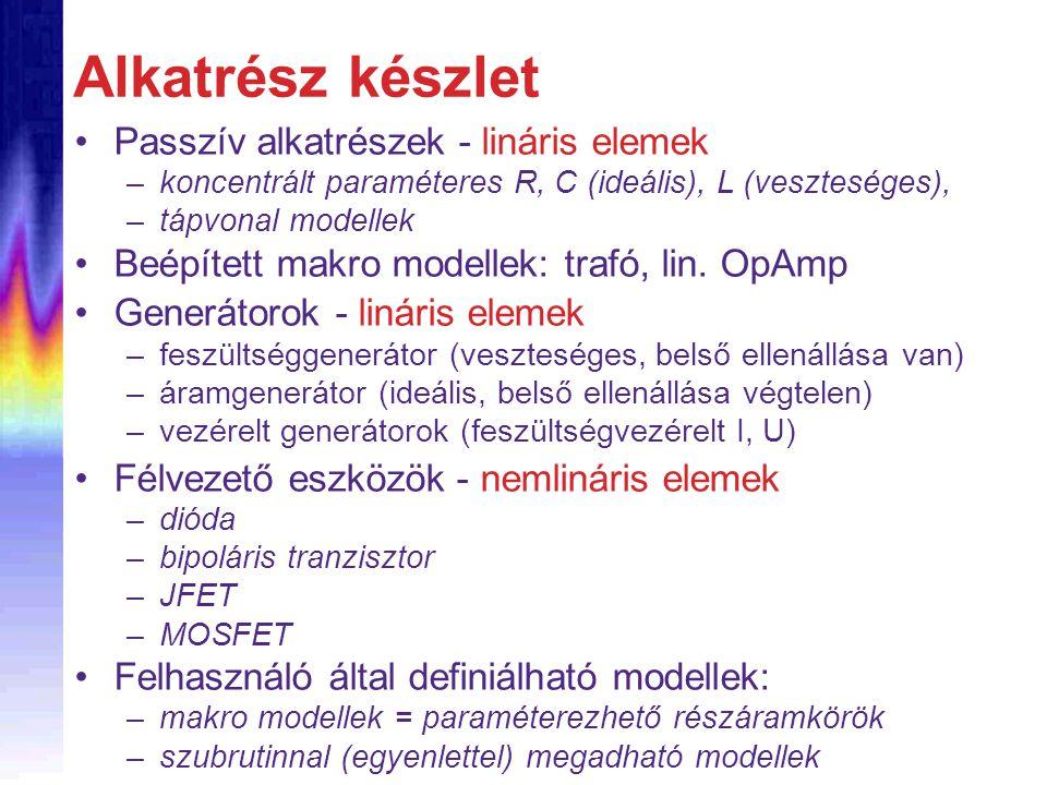 Alkatrész készlet Passzív alkatrészek - lináris elemek –koncentrált paraméteres R, C (ideális), L (veszteséges), –tápvonal modellek Beépített makro mo