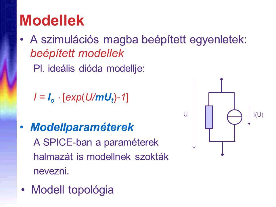 Modellek A szimulációs magba beépített egyenletek: beépített modellek Pl. ideális dióda modellje: I = I o  [exp(U/mU t )-1] Modellparaméterek A SPICE