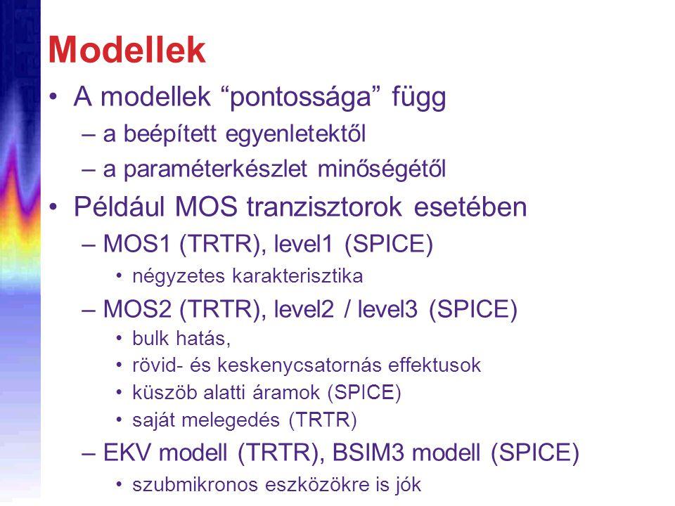 """Modellek A modellek """"pontossága"""" függ –a beépített egyenletektől –a paraméterkészlet minőségétől Például MOS tranzisztorok esetében –MOS1 (TRTR), leve"""