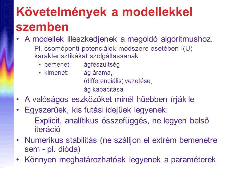 Követelmények a modellekkel szemben A modellek illeszkedjenek a megoldó algoritmushoz. Pl. csomóponti potenciálok módszere esetében I(U) karakteriszti