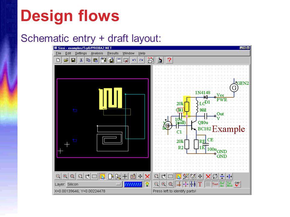 Design flows Schematic entry + draft layout:
