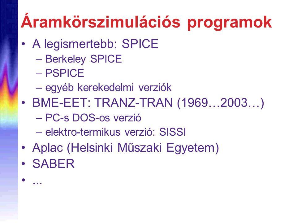Áramkörszimulációs programok A legismertebb: SPICE –Berkeley SPICE –PSPICE –egyéb kerekedelmi verziók BME-EET: TRANZ-TRAN (1969…2003…) –PC-s DOS-os ve