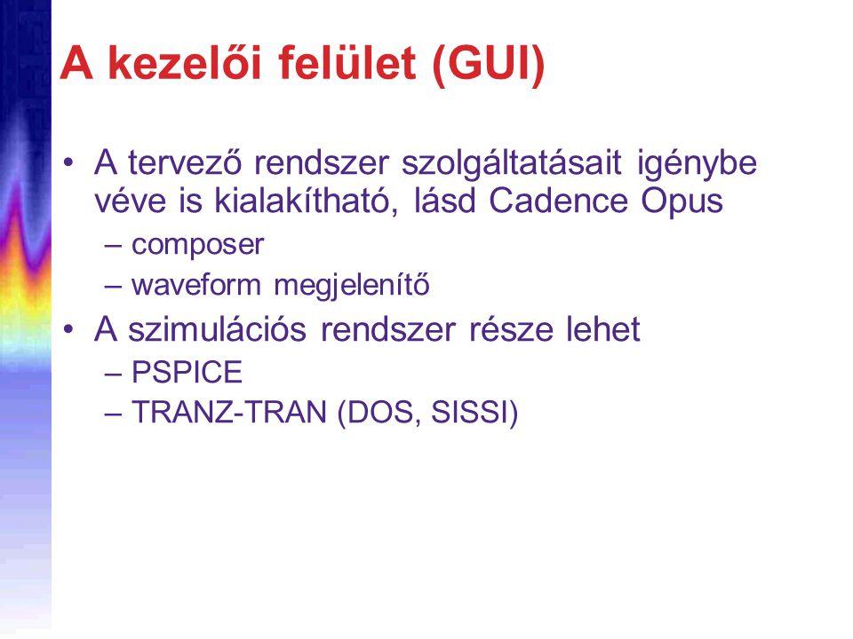 A kezelői felület (GUI) A tervező rendszer szolgáltatásait igénybe véve is kialakítható, lásd Cadence Opus –composer –waveform megjelenítő A szimuláci