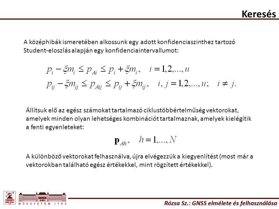 Keresés A középhibák ismeretében alkossunk egy adott konfidenciaszinthez tartozó Student-eloszlás alapján egy konfidenciaintervallumot: Állítsuk elő az egész számokat tartalmazó ciklustöbbértelműség vektorokat, amelyek minden olyan lehetséges kombinációt tartalmaznak, amelyek kielégítik a fenti egyenleteket: A különböző vektorokat felhasználva, újra elvégezzük a kiegyenlítést (most már a vektorokban található egész értékekkel, mint rögzített értékekkel).