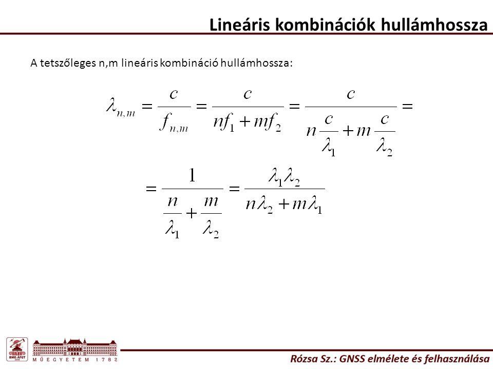 Lineáris kombinációk hullámhossza A tetszőleges n,m lineáris kombináció hullámhossza: