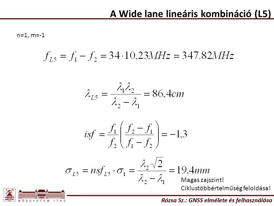 A Wide lane lineáris kombináció (L5) n=1, m=-1 Magas zajszint! Ciklustöbbértelműség feloldása!