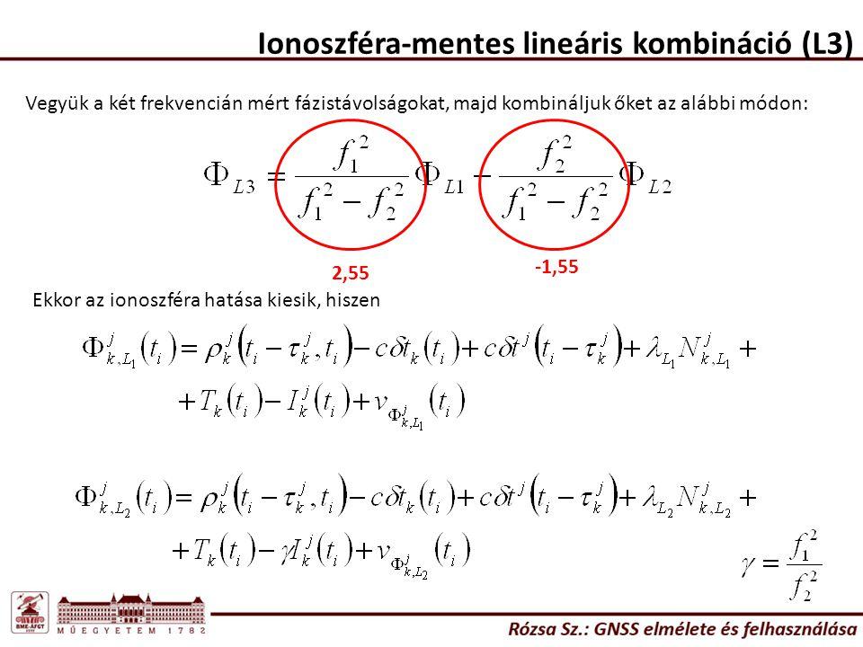 Ionoszféra-mentes lineáris kombináció (L3) Vegyük a két frekvencián mért fázistávolságokat, majd kombináljuk őket az alábbi módon: Ekkor az ionoszféra hatása kiesik, hiszen 2,55 -1,55