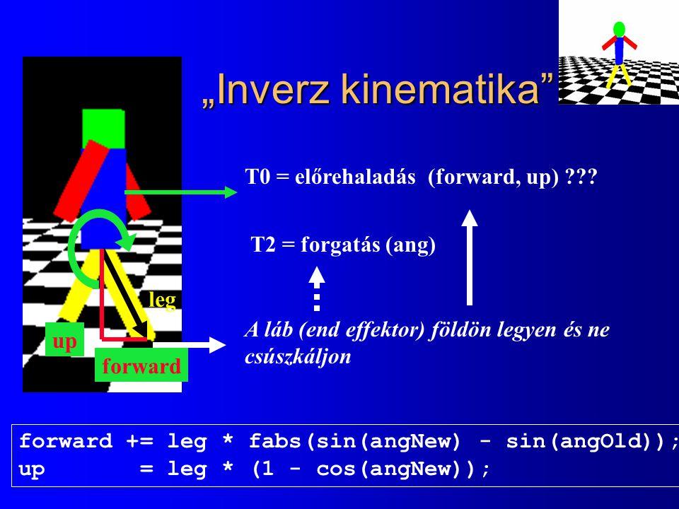 """""""Inverz kinematika"""" T0 = előrehaladás (forward, up) ??? T2 = forgatás (ang) A láb (end effektor) földön legyen és ne csúszkáljon forward += leg * fabs"""