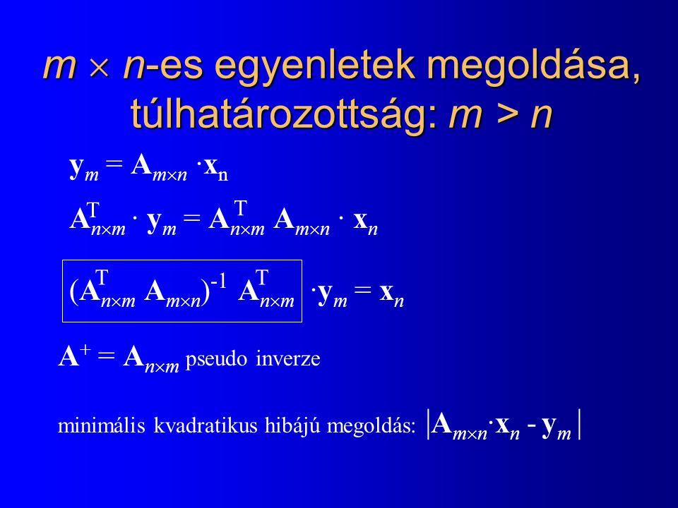 m  n-es egyenletek megoldása, túlhatározottság: m > n y m = A m  n ·x n A n  m · y m = A n  m A m  n · x n (A n  m A m  n ) -1 A n  m ·y m = x n T T TT A + = A n  m pseudo inverze minimális kvadratikus hibájú megoldás: | A m  n ·x n - y m |