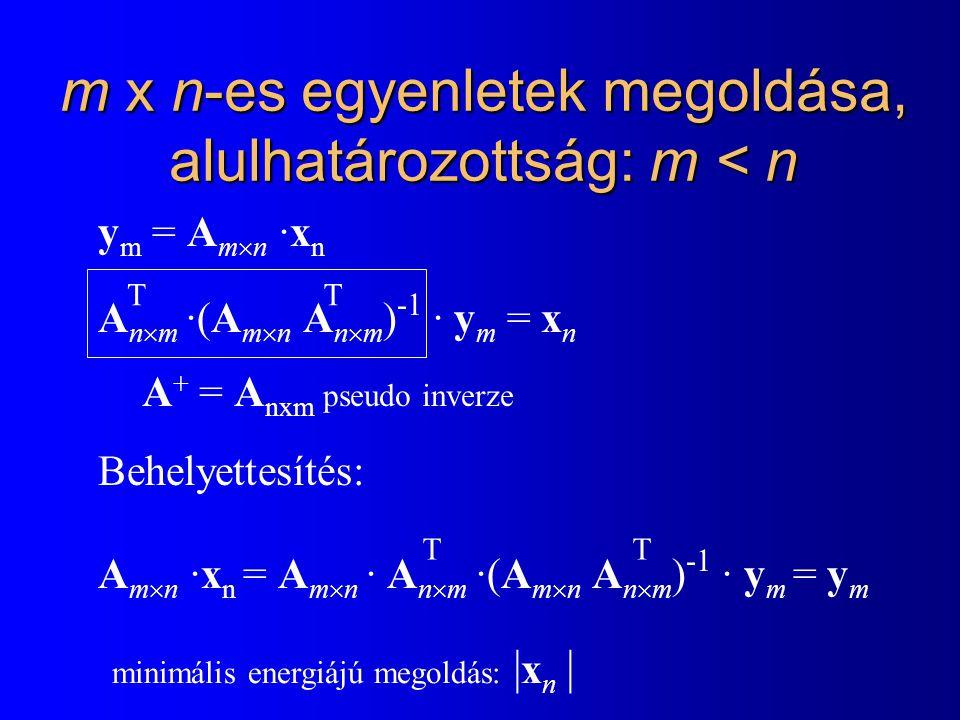 m x n-es egyenletek megoldása, alulhatározottság: m < n y m = A m  n ·x n A n  m ·(A m  n A n  m ) -1 · y m = x n Behelyettesítés: A m  n ·x n = A m  n · A n  m ·(A m  n A n  m ) -1 · y m = y m T T T A + = A nxm pseudo inverze T minimális energiájú megoldás: | x n |