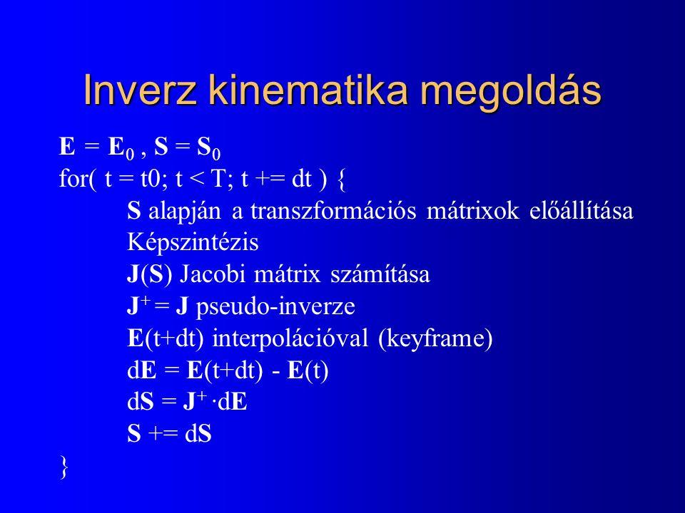 Inverz kinematika megoldás E = E 0, S = S 0 for( t = t0; t < T; t += dt ) { S alapján a transzformációs mátrixok előállítása Képszintézis J(S) Jacobi mátrix számítása J + = J pseudo-inverze E(t+dt) interpolációval (keyframe) dE = E(t+dt) - E(t) dS = J + ·dE S += dS }