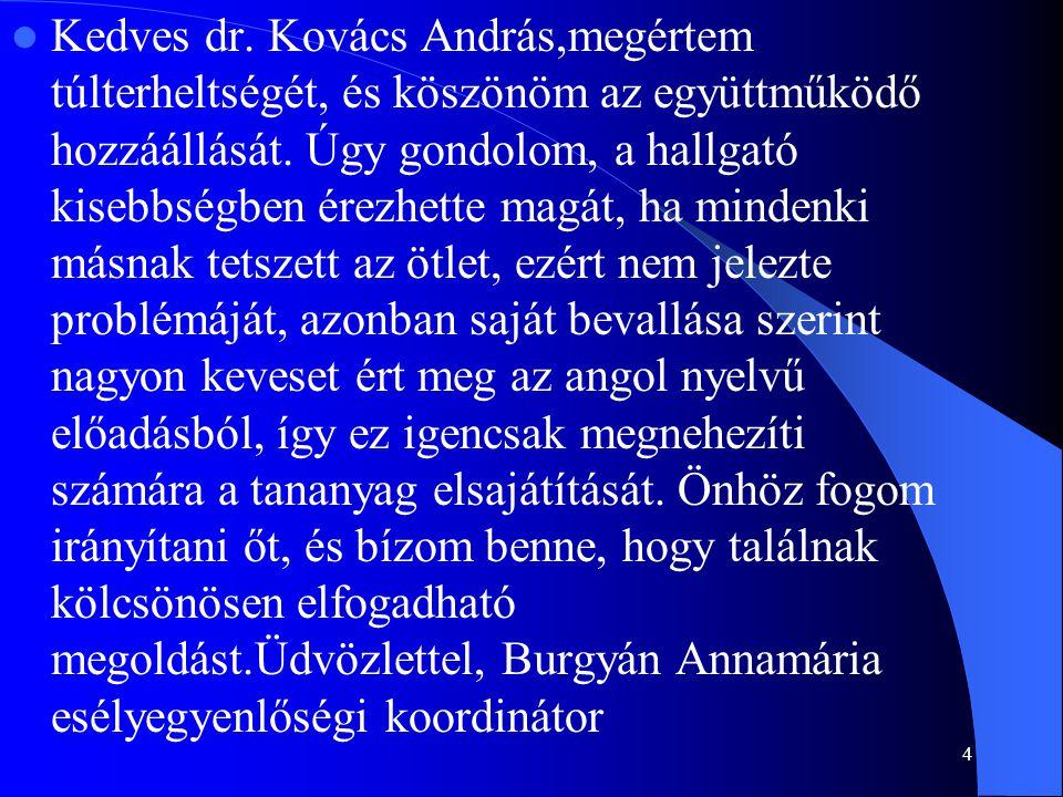 Kedves dr. Kovács András,megértem túlterheltségét, és köszönöm az együttműködő hozzáállását. Úgy gondolom, a hallgató kisebbségben érezhette magát, ha