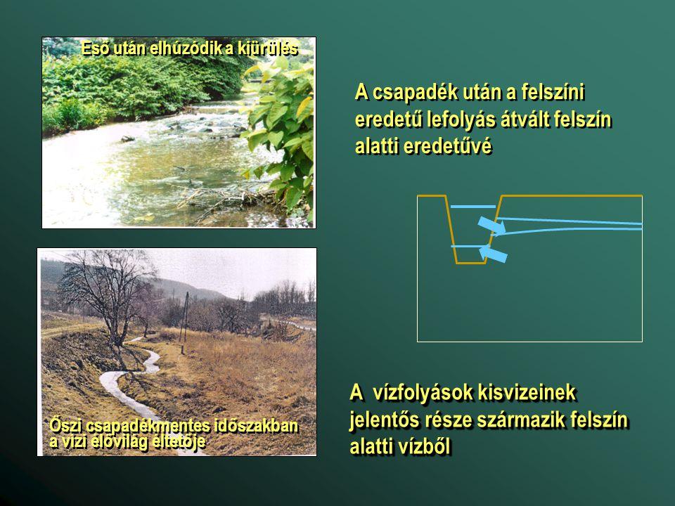 A vízfolyások kisvizeinek jelentős része származik felszín alatti vízből Eső után elhúzódik a kiürülés Őszi csapadékmentes időszakban a vízi élővilág éltetője A csapadék után a felszíni eredetű lefolyás átvált felszín alatti eredetűvé