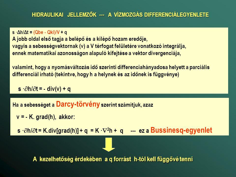 HIDRAULIKAI JELLEMZŐK --- A VÍZMOZGÁS DIFFERENCIÁLEGYENLETE s ·Δh/Δt = (Qbe - Qki)/V + q A jobb oldal első tagja a belépő és a kilépő hozam eredője, vagyis a sebességvektornak (v) a V térfogat felületére vonatkozó integrálja, ennek matematikai azonosságon alapuló kifejtése a vektor divergenciája, valamint, hogy a nyomásváltozás idő szerinti differenciahányadosa helyett a parciális differenciál írható (tekintve, hogy h a helynek és az időnek is függvénye) s ·  h/  t = - div(v) + q Ha a sebességet a Darcy-törvény szerint számítjuk, azaz v = - K.