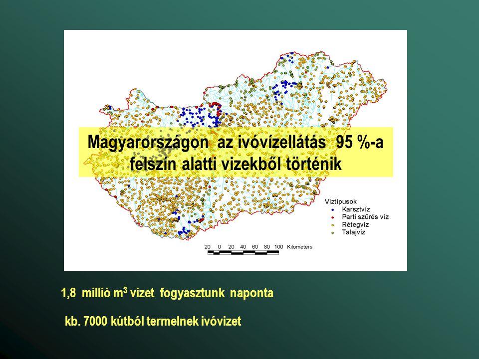 kb. 7000 kútból termelnek ivóvizet 1,8 millió m 3 vizet fogyasztunk naponta Magyarországon az ivóvízellátás 95 %-a felszín alatti vizekből történik