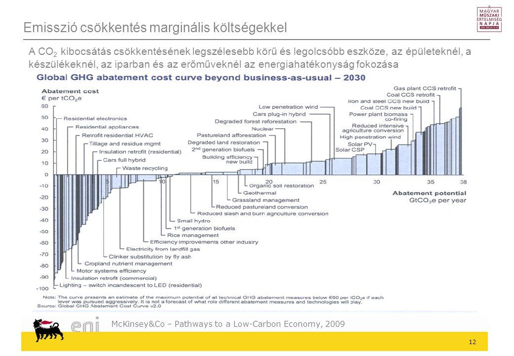 12 Emisszió csökkentés marginális költségekkel A CO 2 kibocsátás csökkentésének legszélesebb körű és legolcsóbb eszköze, az épületeknél, a készülékeknél, az iparban és az erőműveknél az energiahatékonyság fokozása McKinsey&Co – Pathways to a Low-Carbon Economy, 2009
