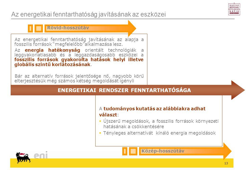 13 Az energetikai fenntarthatóság javításának az eszközei Az energetikai fenntarthatóság javításának az alapja a fosszilis források megfelelőbb alkalmazása lesz.