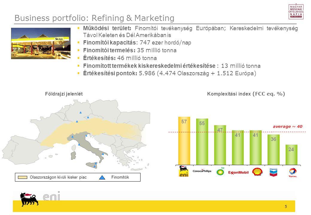 5  Működési terület : Finomítói tevékenység Eur ópában ; Kereskedelmi tevékenység Távol Keleten és Dél Amerikában is  Finomítói kapacitás : 747 ezer hordó / nap  Finomítói termelés : 35 milli ó tonna  Értékesítés : 46 milli ó tonna  Finomított termékek kiskereskedelmi értékesítése : 13 milli ó tonna  Értékesítési pontok : 5.986 (4.474 Olaszország + 1.512 Európa ) Olaszországon kívüli kisker piacFinomítók average ~ 40 Komplexitási index (FCC eq.