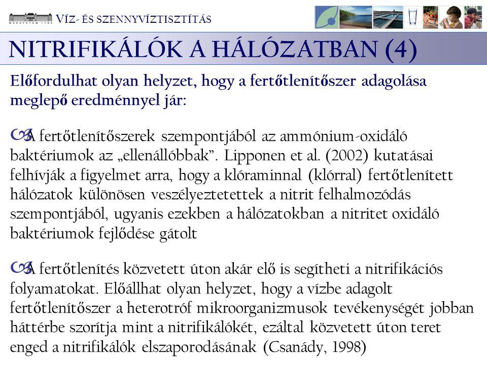 NITRIFIKÁLÓK A HÁLÓZATBAN (4) El ő fordulhat olyan helyzet, hogy a fert ő tlenít ő szer adagolása meglep ő eredménnyel jár:  A fert ő tlenít ő szerek