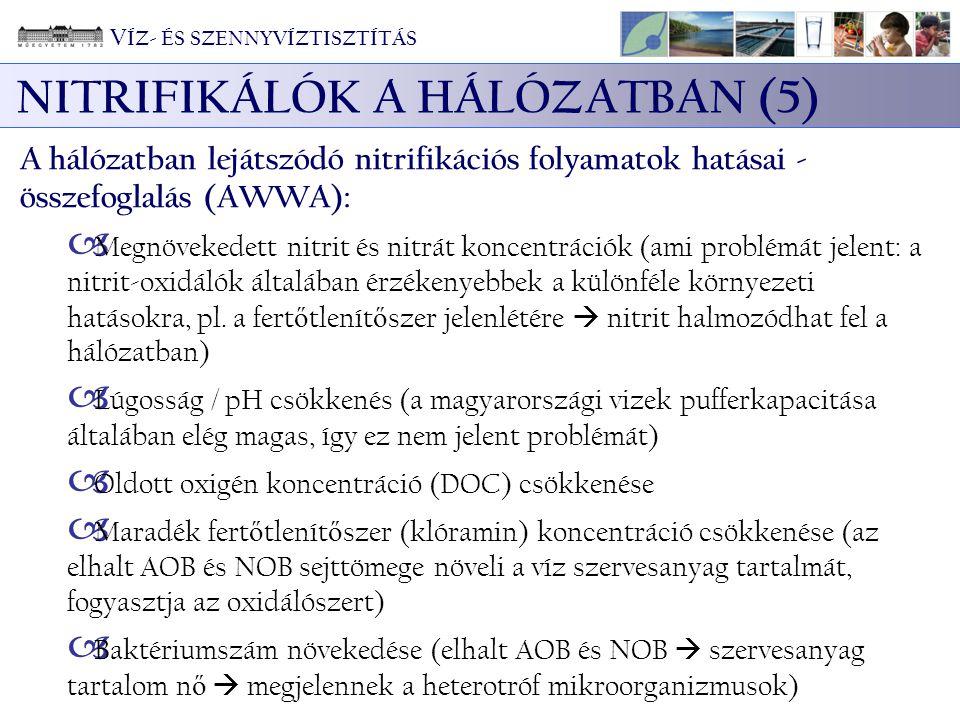 NITRIFIKÁLÓK A HÁLÓZATBAN (5) A hálózatban lejátszódó nitrifikációs folyamatok hatásai - összefoglalás (AWWA):  Megnövekedett nitrit és nitrát koncentrációk (ami problémát jelent: a nitrit-oxidálók általában érzékenyebbek a különféle környezeti hatásokra, pl.