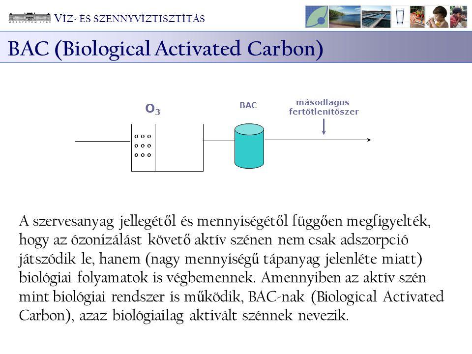 o o o O3O3 másodlagos fertőtlenítőszer BAC A szervesanyag jellegét ő l és mennyiségét ő l függ ő en megfigyelték, hogy az ózonizálást követ ő aktív szénen nem csak adszorpció játszódik le, hanem (nagy mennyiség ű tápanyag jelenléte miatt) biológiai folyamatok is végbemennek.