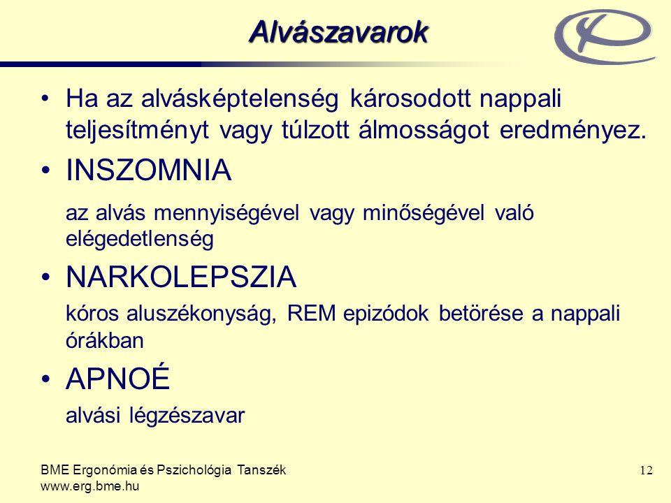 BME Ergonómia és Pszichológia Tanszék www.erg.bme.hu 12 Alvászavarok Ha az alvásképtelenség károsodott nappali teljesítményt vagy túlzott álmosságot e