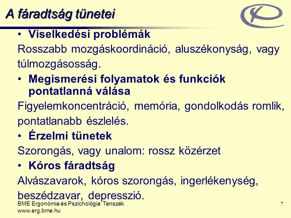 BME Ergonómia és Pszichológia Tanszék www.erg.bme.hu 7 A fáradtság tünetei Viselkedési problémák Rosszabb mozgáskoordináció, aluszékonyság, vagy túlmo
