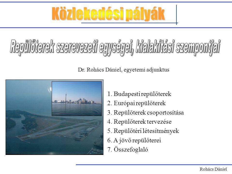 Rohács Dániel 1. Budapesti repülőterek 2. Európai repülőterek 3. Repülőterek csoportosítása 4. Repülőterek tervezése 5. Repülőtéri létesítmények 6. A
