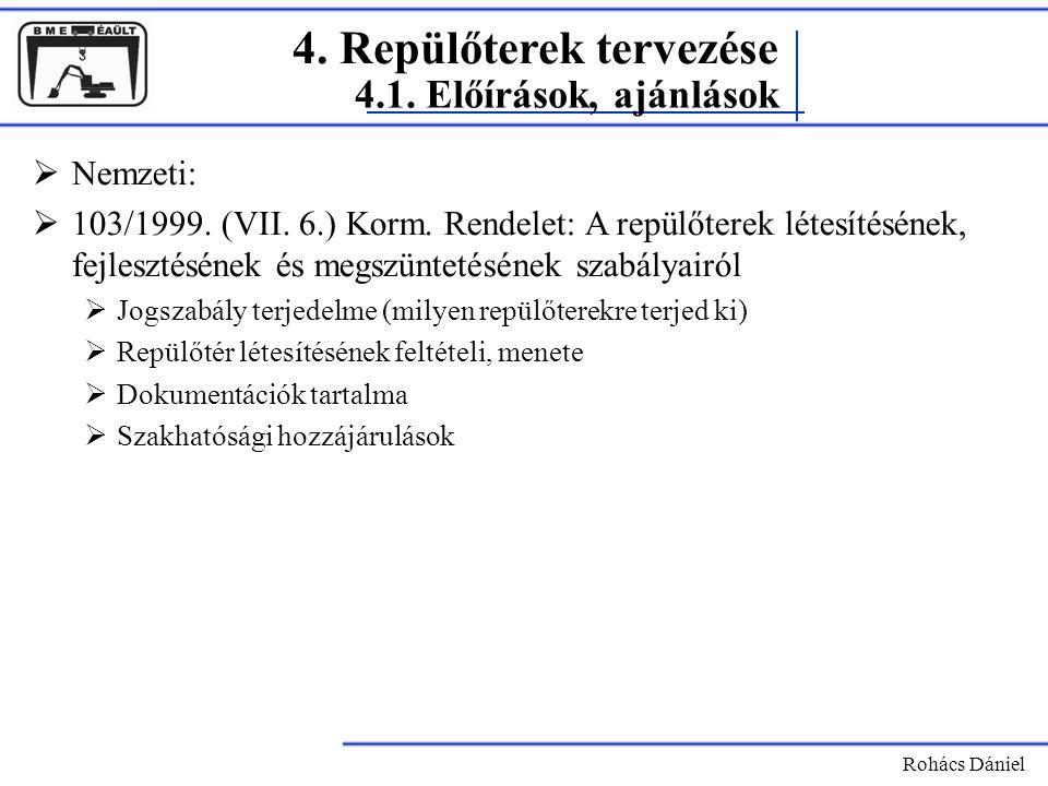4. Repülőterek tervezése Rohács Dániel  Nemzeti:  103/1999. (VII. 6.) Korm. Rendelet: A repülőterek létesítésének, fejlesztésének és megszüntetéséne