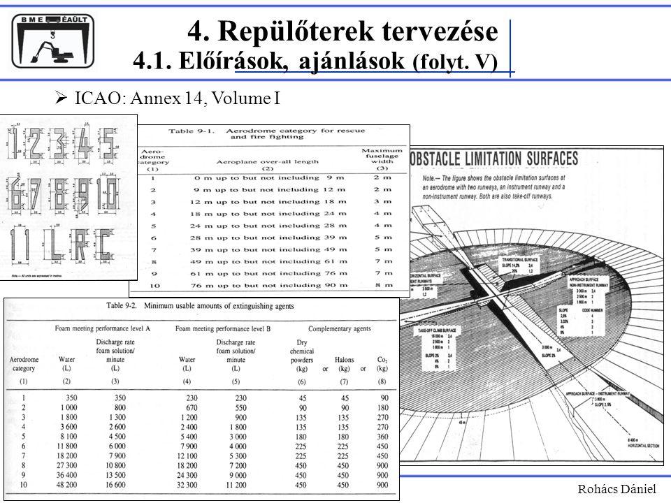 4. Repülőterek tervezése Rohács Dániel 4.1. Előírások, ajánlások (folyt. V)  ICAO: Annex 14, Volume I