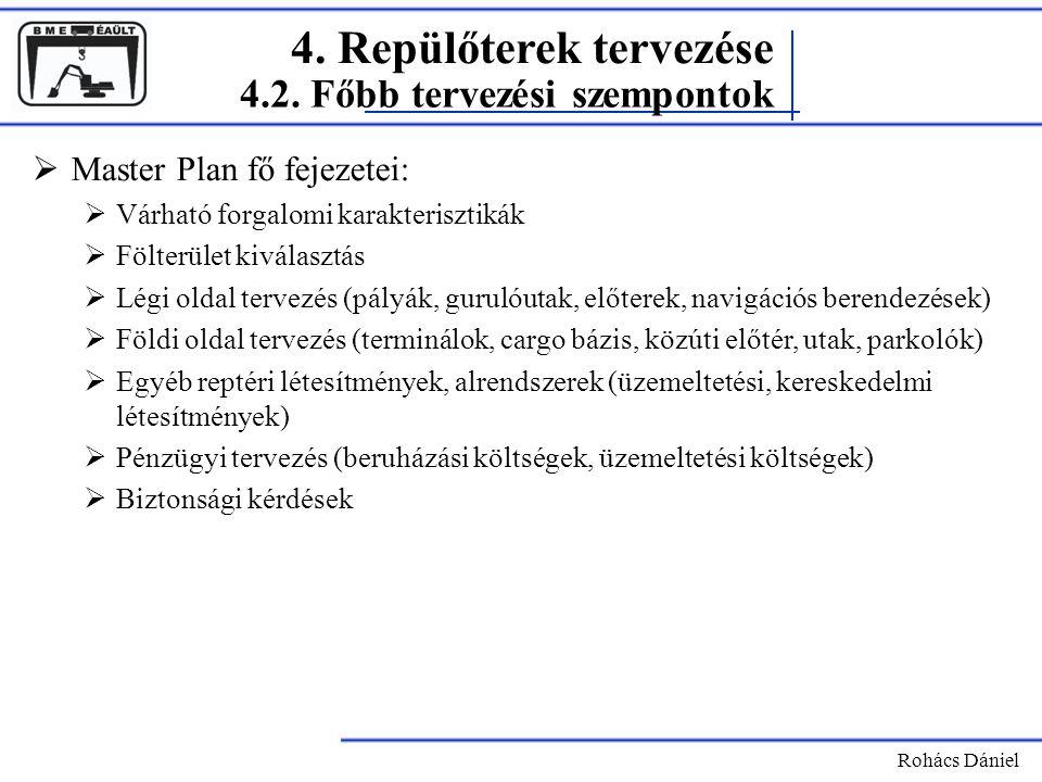 4. Repülőterek tervezése Rohács Dániel  Master Plan fő fejezetei:  Várható forgalomi karakterisztikák  Fölterület kiválasztás  Légi oldal tervezés