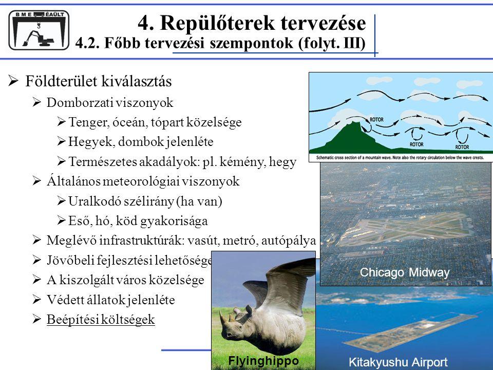 4. Repülőterek tervezése Rohács Dániel  Földterület kiválasztás  Domborzati viszonyok  Tenger, óceán, tópart közelsége  Hegyek, dombok jelenléte 