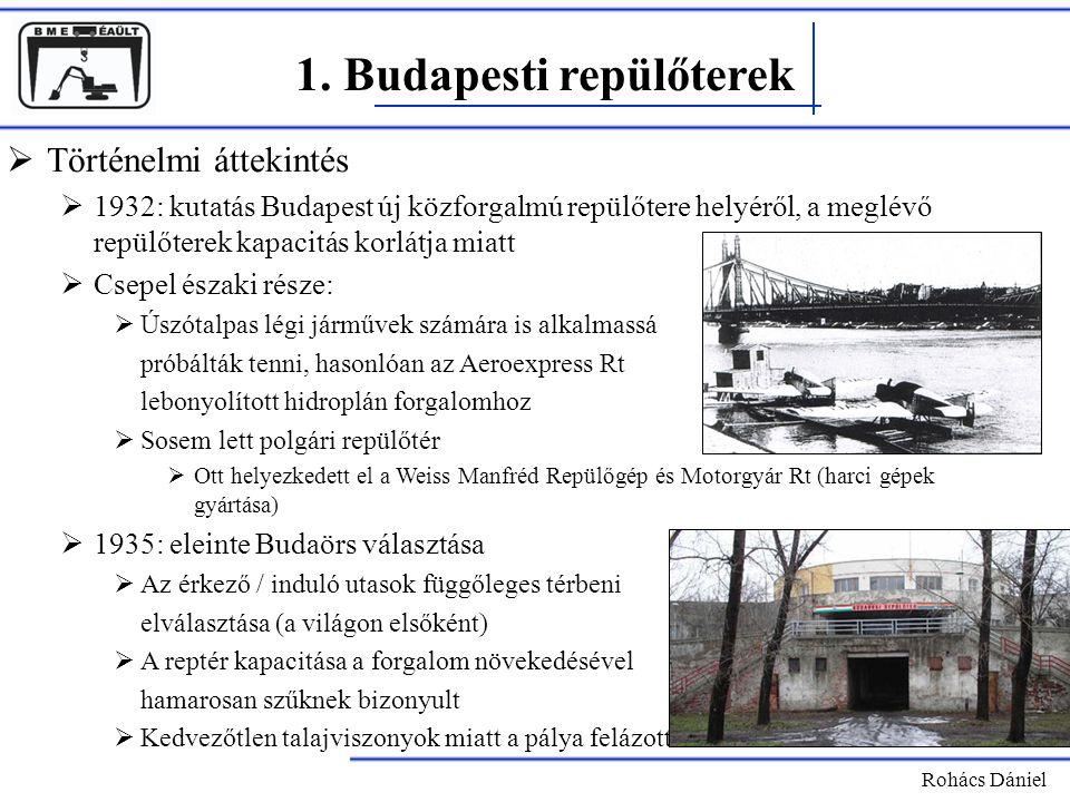 1. Budapesti repülőterek Rohács Dániel  Történelmi áttekintés  1932: kutatás Budapest új közforgalmú repülőtere helyéről, a meglévő repülőterek kapa
