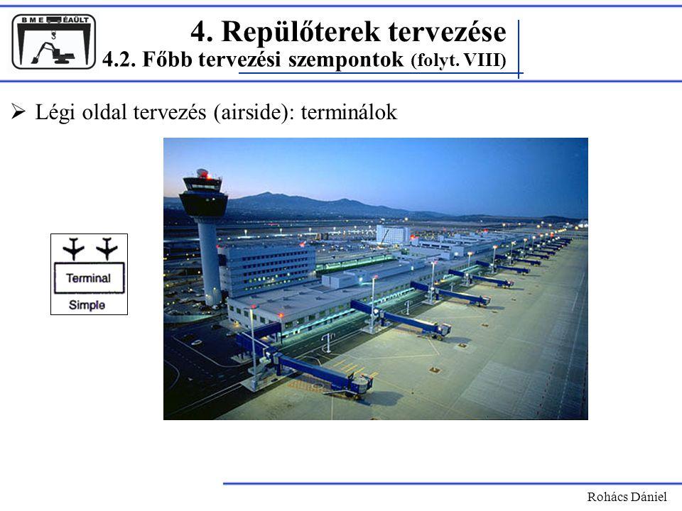 4. Repülőterek tervezése Rohács Dániel  Légi oldal tervezés (airside): terminálok 4.2. Főbb tervezési szempontok (folyt. VIII)