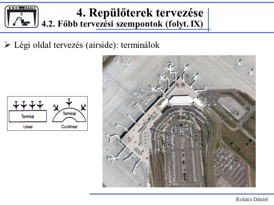 4. Repülőterek tervezése Rohács Dániel  Légi oldal tervezés (airside): terminálok 4.2. Főbb tervezési szempontok (folyt. IX)