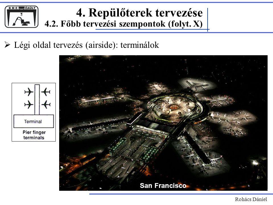 4. Repülőterek tervezése Rohács Dániel  Légi oldal tervezés (airside): terminálok 4.2. Főbb tervezési szempontok (folyt. X) San Francisco