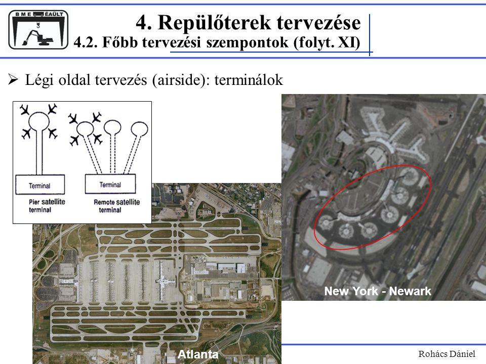 4. Repülőterek tervezése Rohács Dániel  Légi oldal tervezés (airside): terminálok 4.2. Főbb tervezési szempontok (folyt. XI) Atlanta New York - Newar