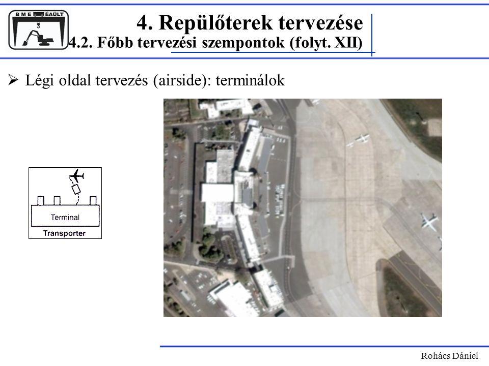 4. Repülőterek tervezése Rohács Dániel  Légi oldal tervezés (airside): terminálok 4.2. Főbb tervezési szempontok (folyt. XII)