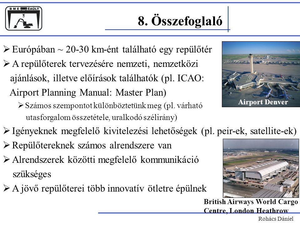 8. Összefoglaló Rohács Dániel  Európában ~ 20-30 km-ént található egy repülőtér  A repülőterek tervezésére nemzeti, nemzetközi ajánlások, illetve el