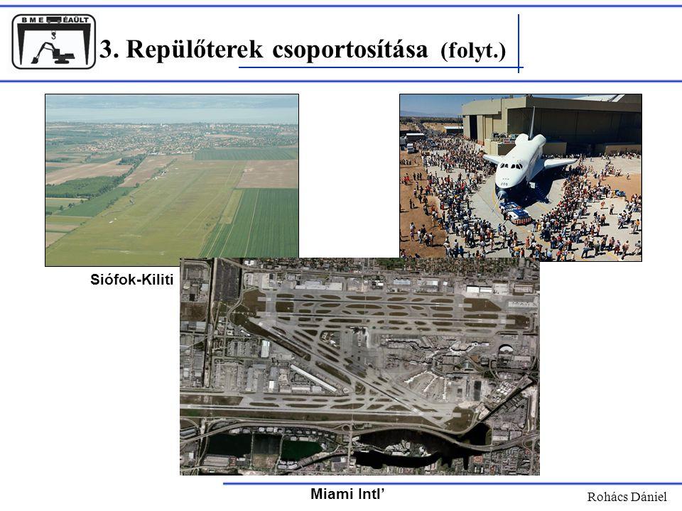 3. Repülőterek csoportosítása (folyt.) Rohács Dániel Siófok-Kiliti Miami Intl'