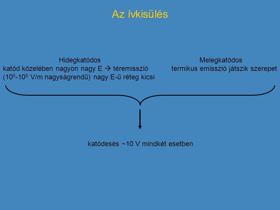 Az ívkisülés katódesés ~10 V mindkét esetben Hidegkatódos katód közelében nagyon nagy E  téremisszió (10 8 -10 9 V/m nagyságrendű) nagy E-ű réteg kic