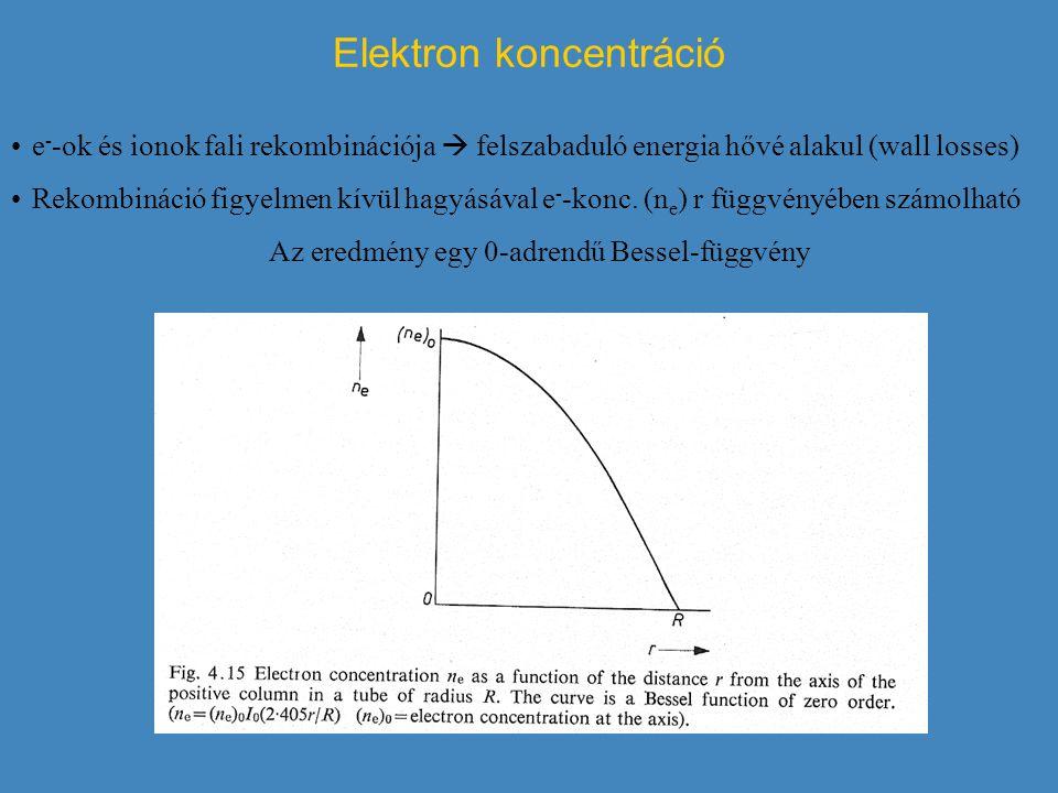 Elektron koncentráció e - -ok és ionok fali rekombinációja  felszabaduló energia hővé alakul (wall losses) Rekombináció figyelmen kívül hagyásával e