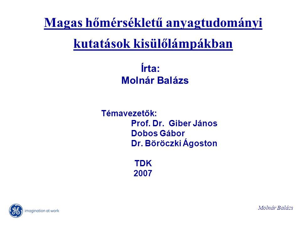 Molnár Balázs Magas hőmérsékletű anyagtudományi kutatások kisülőlámpákban Írta: Molnár Balázs Témavezetők: Prof.
