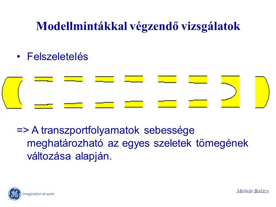 Molnár Balázs Modellmintákkal végzendő vizsgálatok Felszeletelés => A transzportfolyamatok sebessége meghatározható az egyes szeletek tömegének változása alapján.