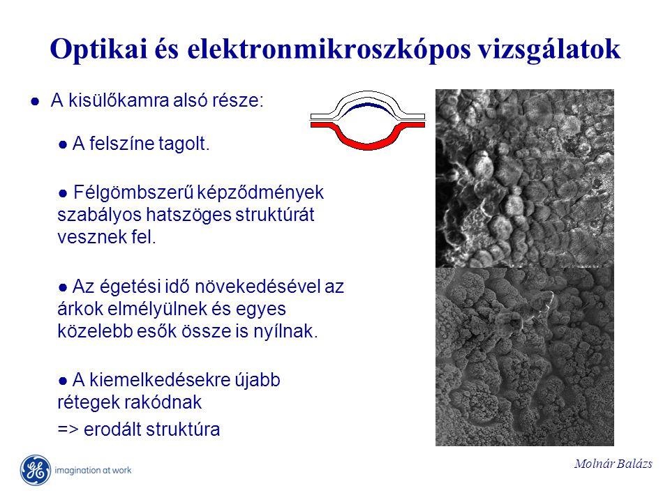 Molnár Balázs Optikai és elektronmikroszkópos vizsgálatok ● A kisülőkamra alsó része: ● A felszíne tagolt.