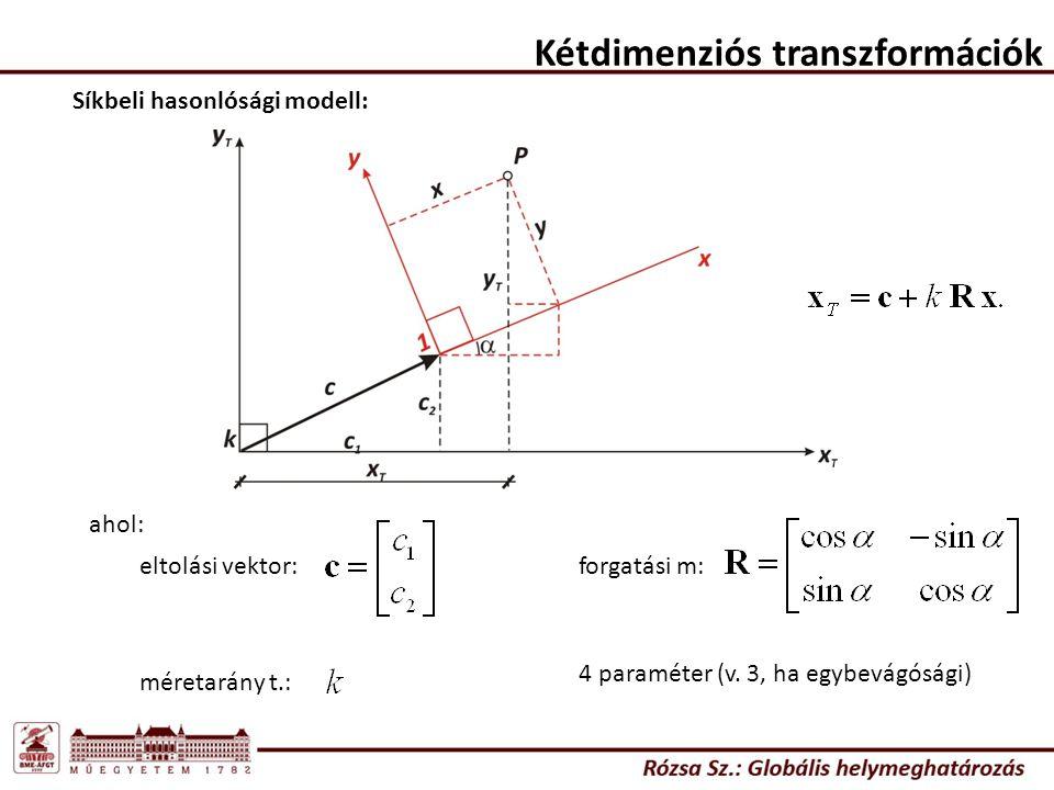 Kétdimenziós transzformációk Síkbeli hasonlósági modell: ahol: eltolási vektor: méretarány t.: forgatási m: 4 paraméter (v. 3, ha egybevágósági)